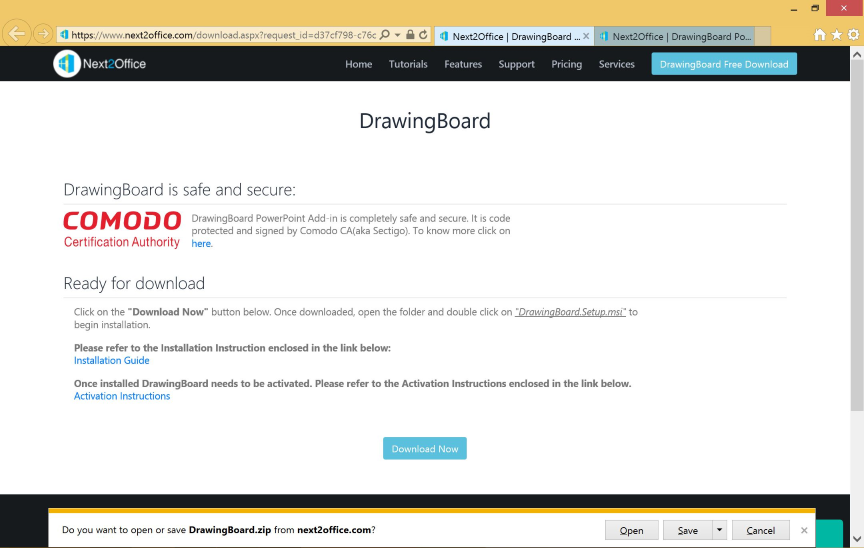 Download install DrawingBoard Microsoft PowerPoint add in free version safe secure trusted source save in your machine